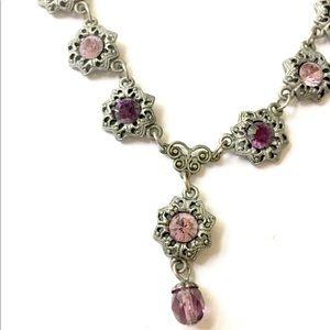1928 Amethyst purple silver Y Necklace